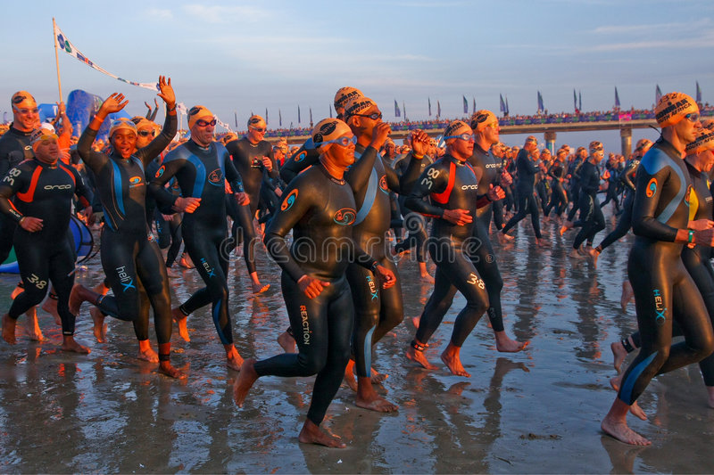 Ironman Start. The start of the swim section of the ironman in Nelson Mandela Bay Port Elizabeth April 5 2009 stock photography
