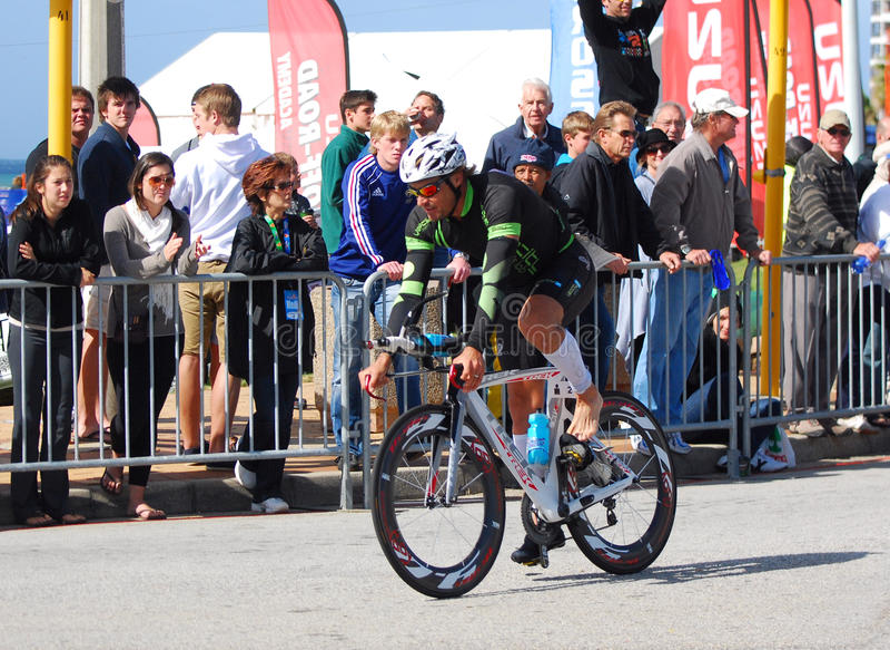 Ironman triathlete cyclist stock image