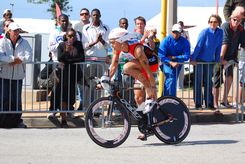 Ironman triathlete cyclist royalty free stock photography