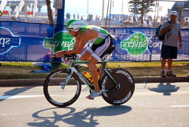 Ironman triathlete winner cycling royalty free stock photography