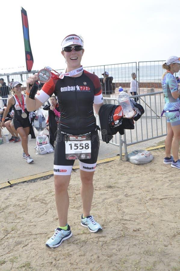 Ironman 70 un campionato di 3 mondi nel elizaeth del porto in Sudafrica immagine stock