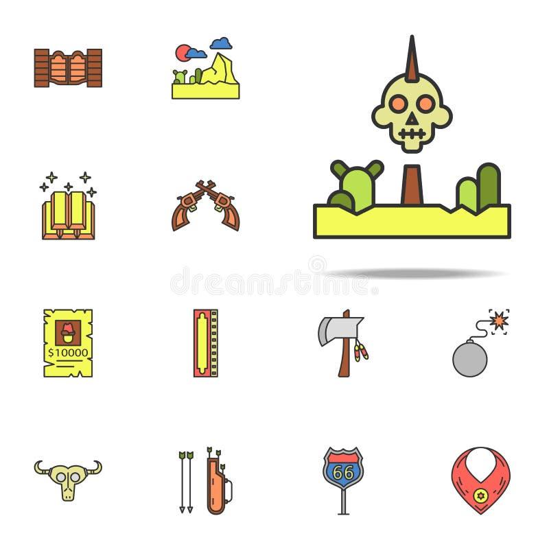 Iroquois gekleurd pictogram Voor Web wordt geplaatst dat en mobiel de pictogrammenalgemeen begrip van Wilde Westennen stock illustratie