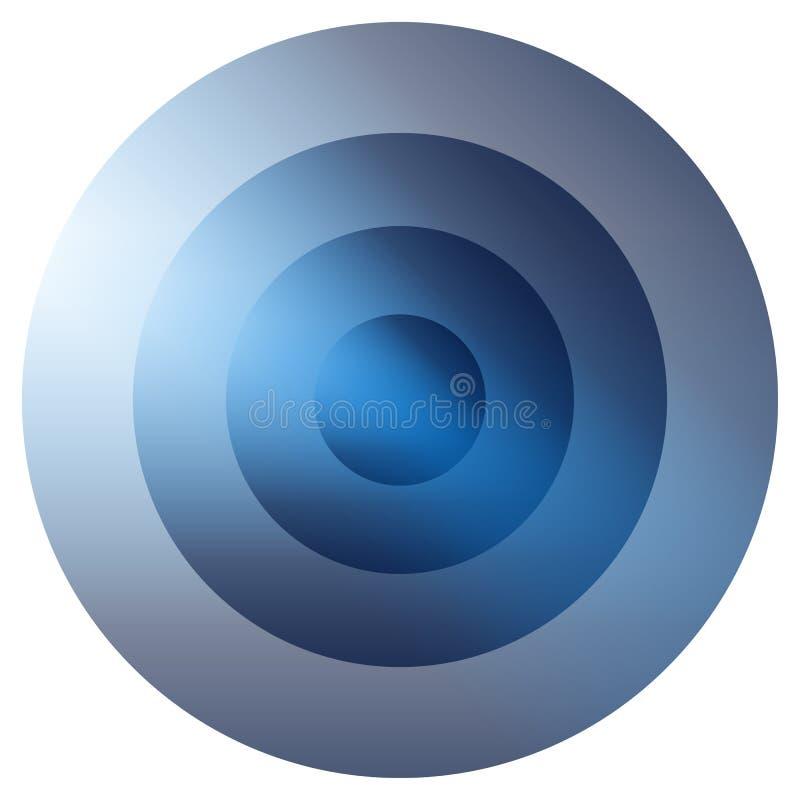 Irradiacão colorida vítreo, elemento dos círculos concêntricos B de incandescência ilustração stock