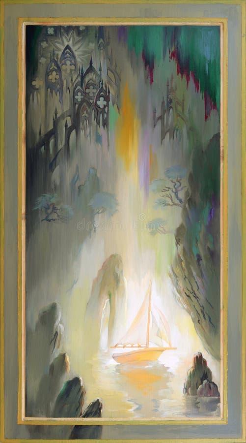 irradiacja Fantazja bajkowy krajobraz Obraz olejny na drewnie ilustracja wektor