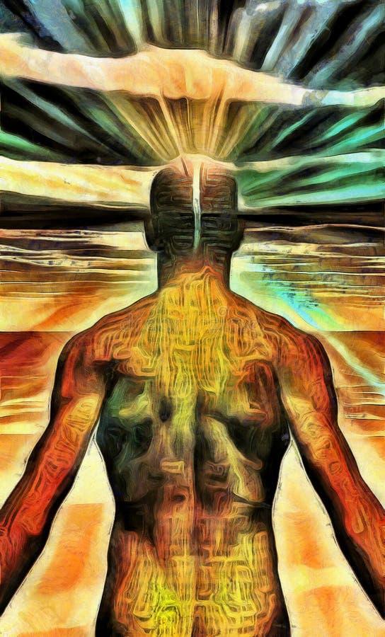 Irradiamento leggero dell'uomo dalla mente fotografie stock