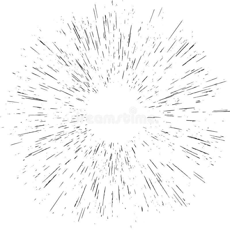 Irradiandosi dai raggi luminosi di scoppio concentrare obietta l'effetto dell'elemento isolati Moto astratto di velocità o di esp illustrazione di stock