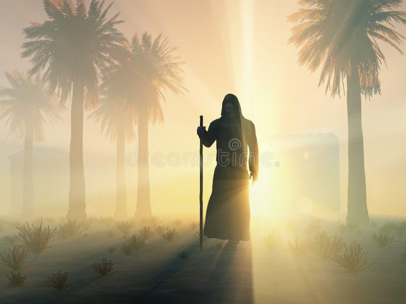 Irrande monk på soluppgången royaltyfri illustrationer