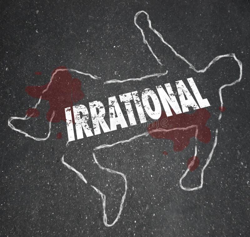 Irrationeel Person Chalk Outline Bad Foolish-Besluit Lijk stock illustratie
