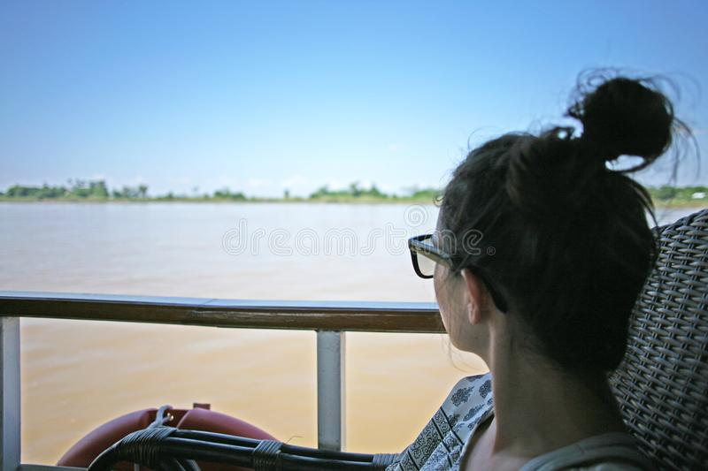 Irrawaddy boat journey royalty free stock photo