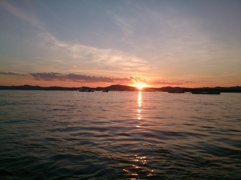 Irrawaddy rzeki zmierzch obrazy royalty free