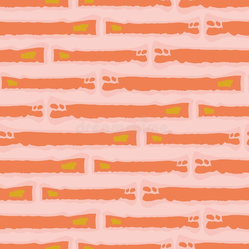 Irregular abstract rectangles in hues of orange creating a painterly effect. Seamless horizontal vector pattern on pink stock illustration