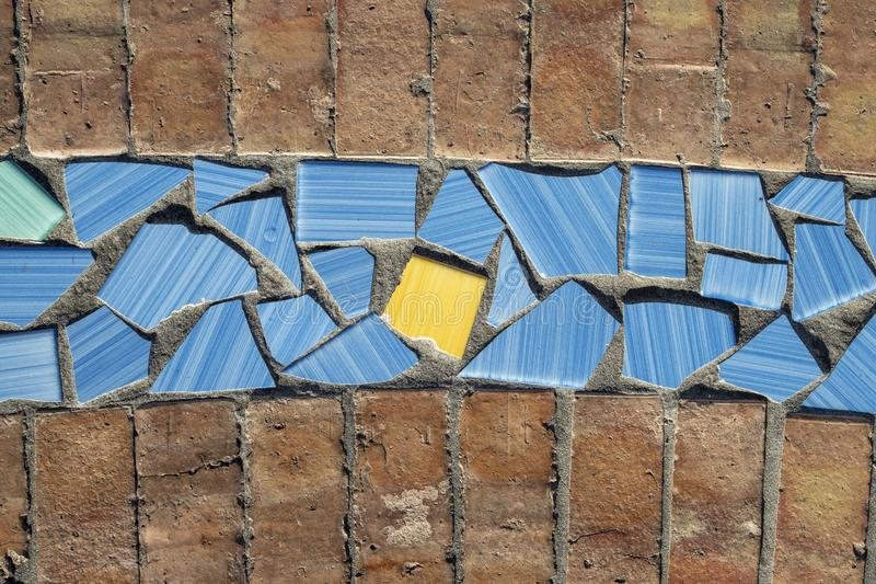Irregular ceramic motif, mosaic wall, glass on the sea Amalfi Coast. Italy. To mean a concept stock images