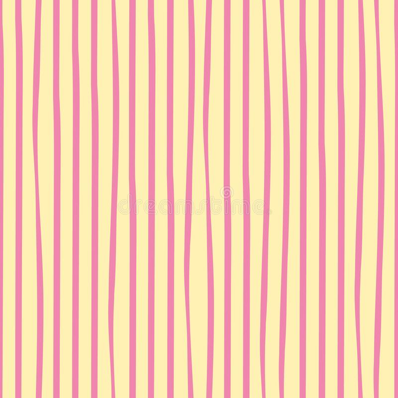 Irregular freehand pink doodle stripes vertical geometric design. Vector seamless pattern on mellow yellow background vector illustration