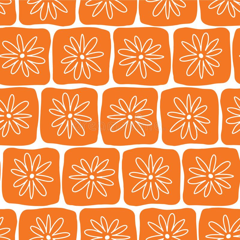 Irregular orange squares with white flowers on a white background. Seamless vector pattern. Perfect for backgrounds, fabric, vector illustration