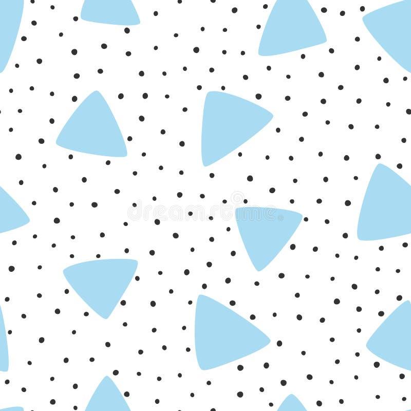 Irregular polka dot and triangles drawn by hand. Modern seamless pattern. stock illustration