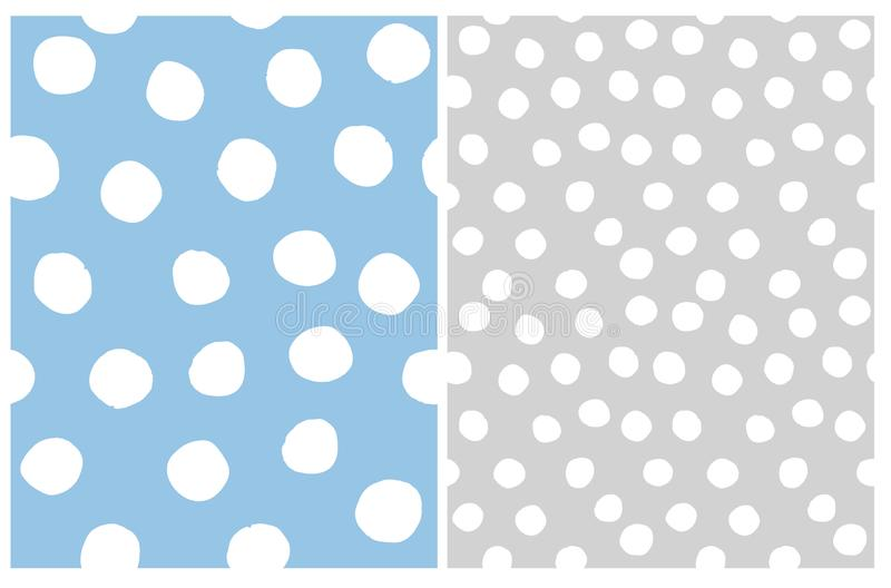 Irregular Polka Dots Repeatable Design. White Dots on a Gray and Light Blue Backgrounds. stock illustration