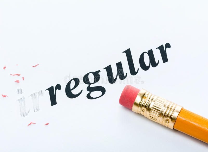 Irregular régulier de Word photos stock
