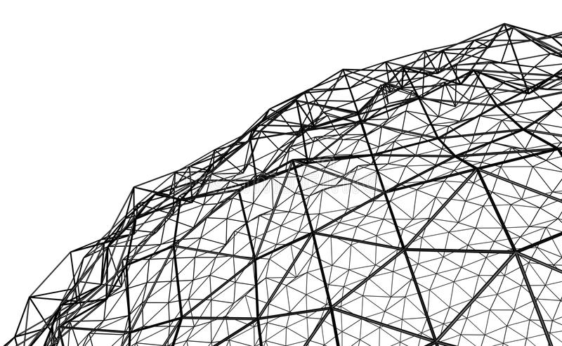 Irregular spherical black grid. Illustration 3D - Irregular spherical black grid on white background royalty free illustration