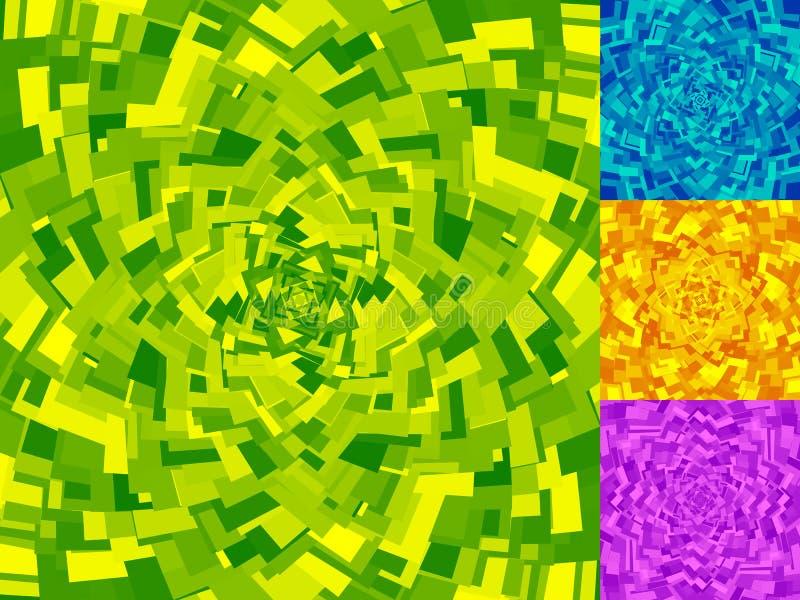 Irregular spirals made of squares. Rotating, swirling assymetric. Geometric pattern. - Royalty free vector illustration vector illustration