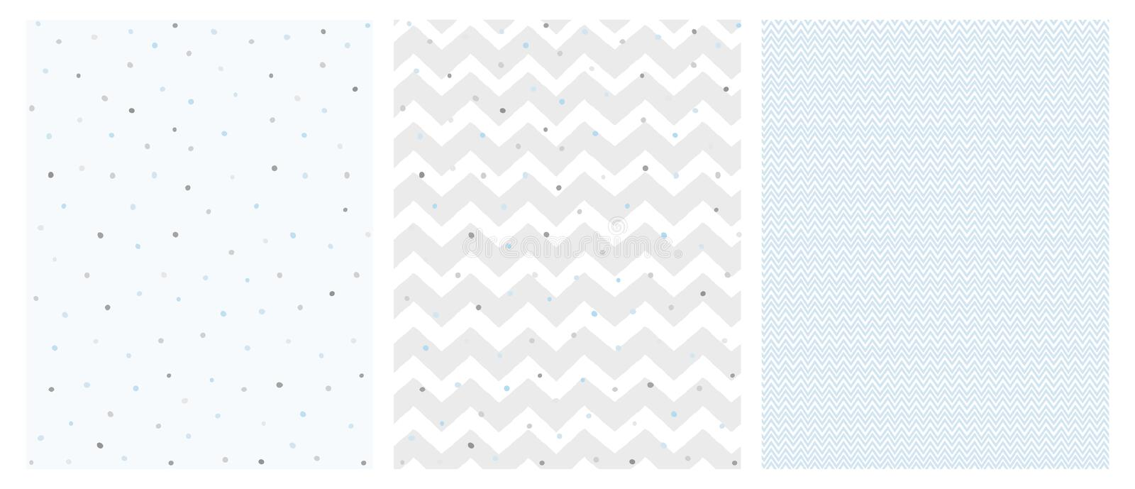 Set of 3 Bright Delicate Chevron and Dots Vector Patterns. royalty free stock image
