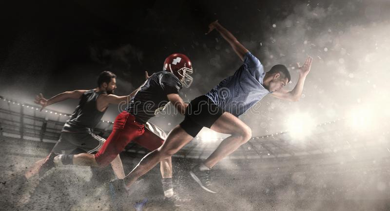 Multi sports collage about basketball, run, American football players at stadium stock photography