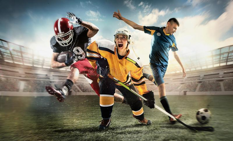 Multi sports collage about ice hockey, soccer and American football screaming players at stadium royalty free stock images