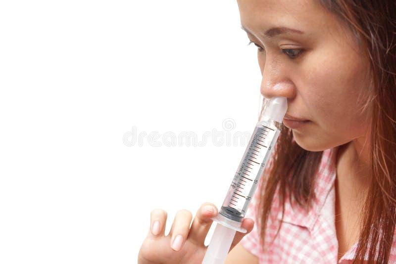 Irrigación nasal imagen de archivo