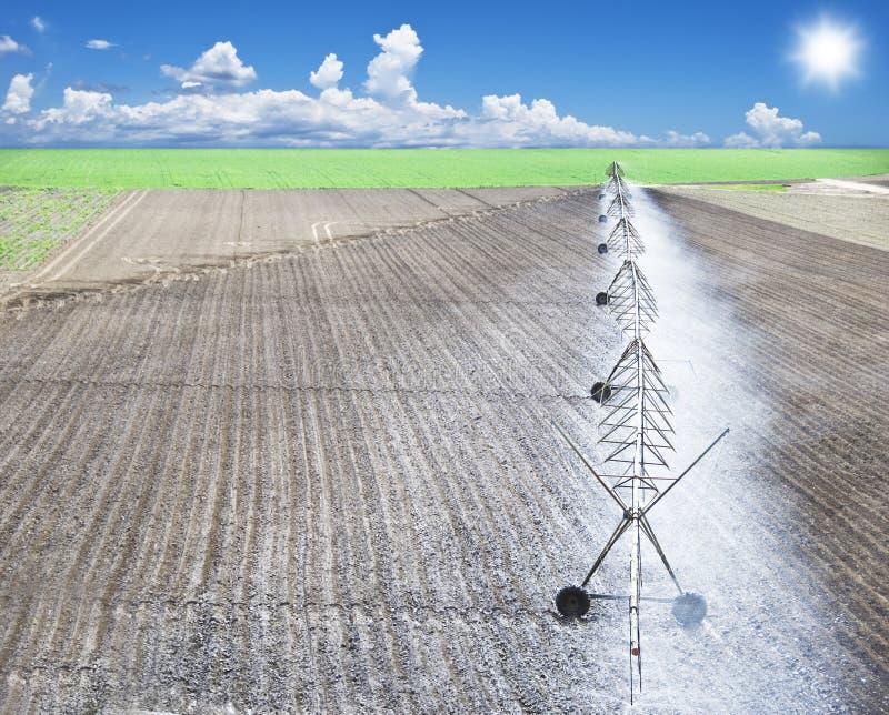 Irrigatie van een landbouwbedrijfgebied stock foto's