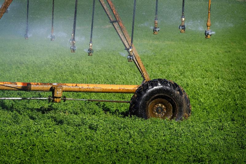 Irrigatiesproeiers die Gebieden voor de Landbouw water geven royalty-vrije stock fotografie