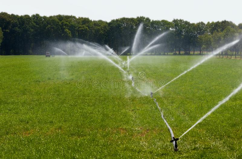 Irrigating grassland in summer. Irrigating grassland in a period of drought in the summer in the Netherlands royalty free stock photo