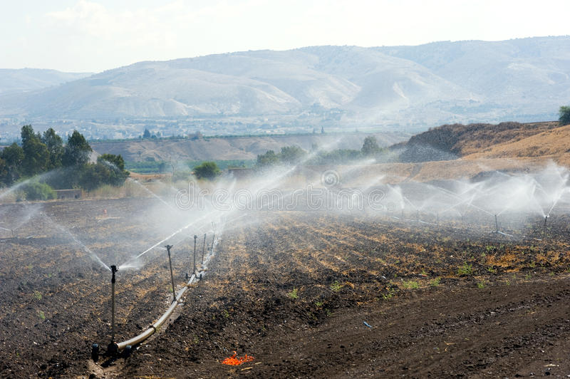 Irrigation in Israel. Irrigating farmland in the Jordan valley in Istael between the Sea of Galilee and Beit She'an stock photography