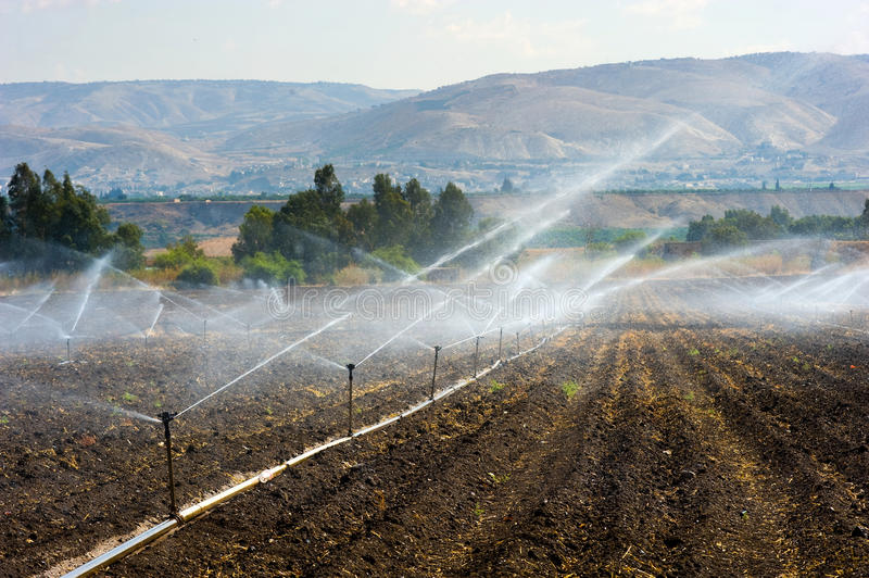 Irrigation in Israel. Irrigating farmland in the Jordan valley in Israel between the Sea of Galilee and Beit She'an stock photo