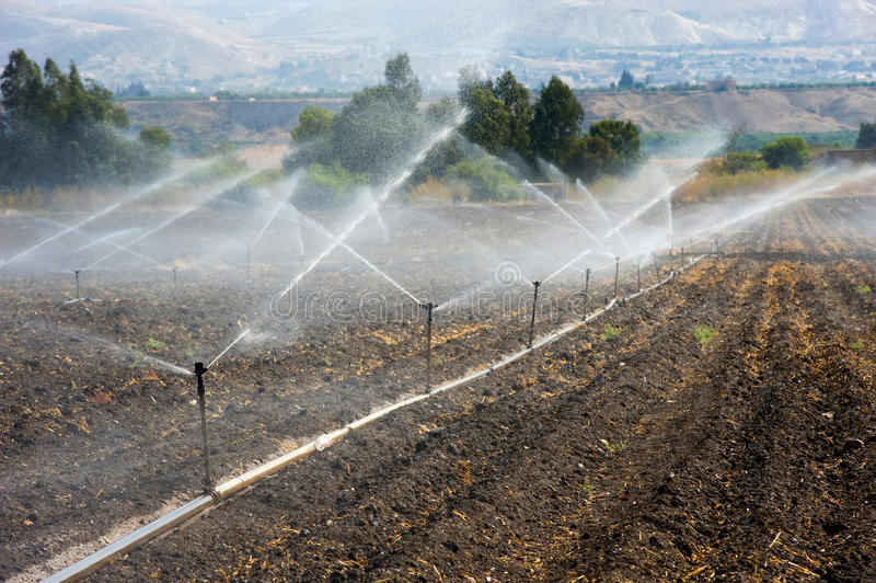 Irrigation in Israel. Irrigating farmland in the Jordan valley in Israel between the Sea of Galilee and Beit She'an royalty free stock images