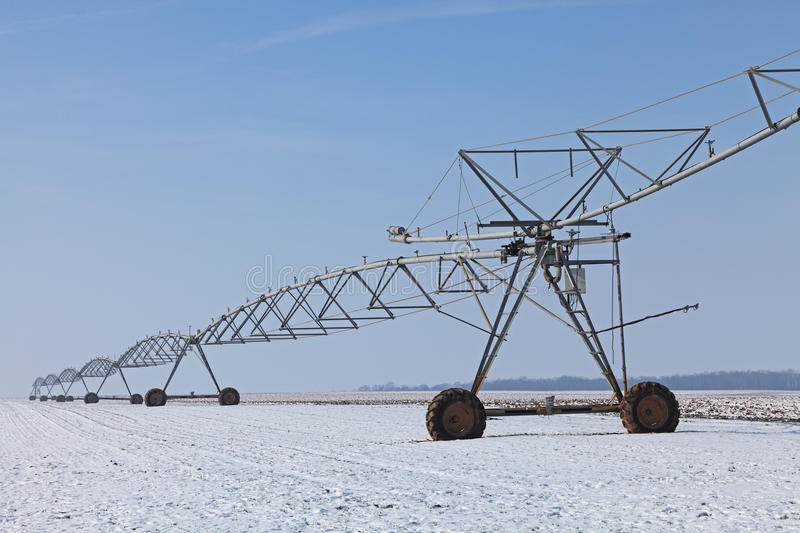 Download Irrigation pivot in winter stock image. Image of country - 23552449