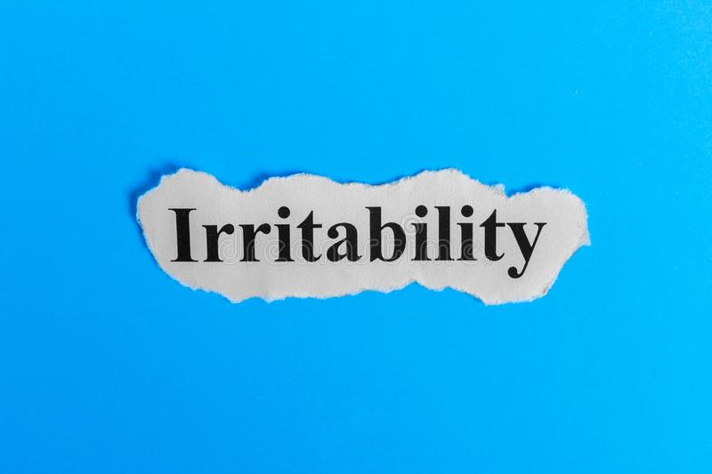 Irritable text on paper. Word Irritable on a piece of paper. Concept Image. Irritable Syndrome stock images
