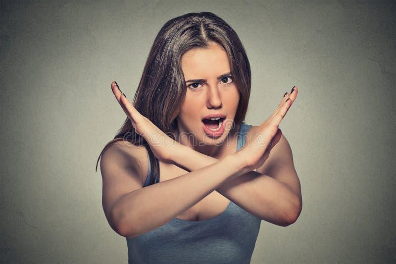 Irritado mijado da mulher fotografia de stock royalty free