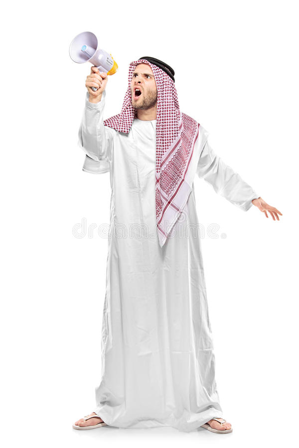 An irritated arab person screaming on a megaphone. Isolated on white background stock photography