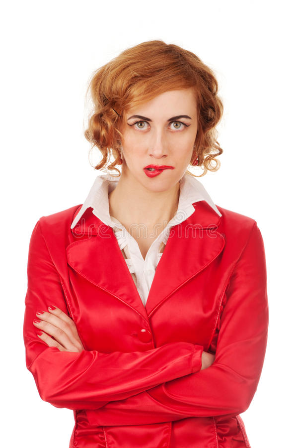 Irritated businesswoman stock photo