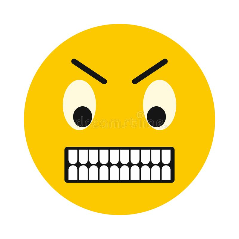 Irritated smiley icon, flat style. Irritated smiley icon in flat style isolated on white background. Facial expressions symbol royalty free illustration