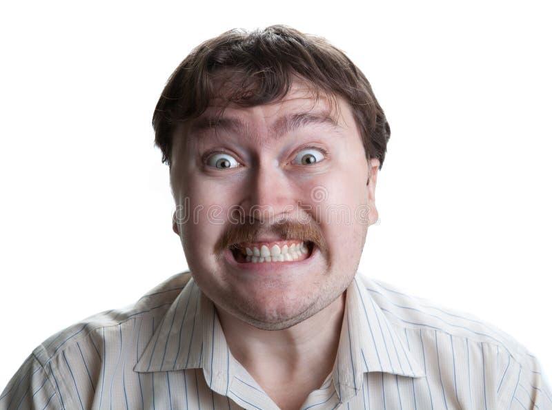 Irritatie bij het man gezicht royalty-vrije stock afbeeldingen
