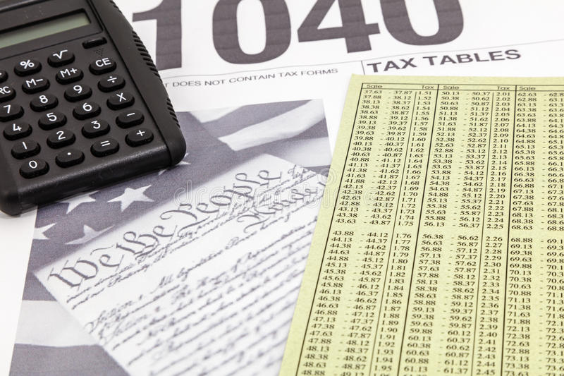IRS 1040 Calculator Tax Chart Tables Stock Image - Image of