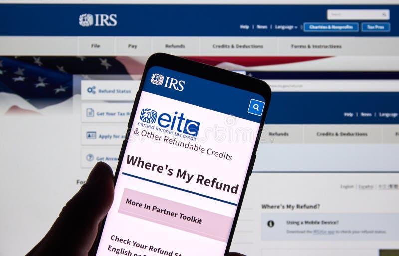 IRS de V.S. Overheidshome page stock afbeelding