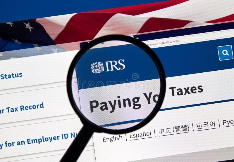 IRS de V.S. Overheidshome page royalty-vrije stock foto's