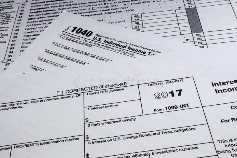 Irs Form 1099 Int Interest Income Editorial Stock Photo Image Of