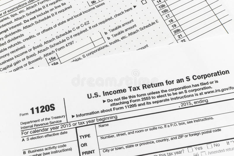 Irs Form 1120s Small Corporation Income Tax Return Editorial Stock
