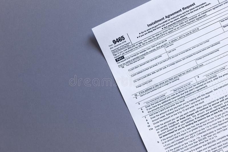 9465 irs tax form. US TAX FORMS with copy space stock images