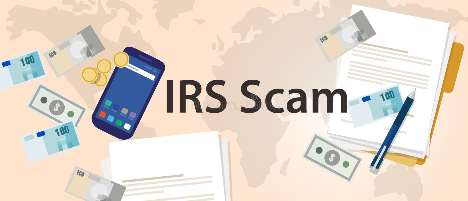 IRS tax scam via phone security fraud illustration paper and money. IRS tax scam via phone security fraud vector illustration paper and money royalty free illustration