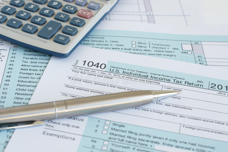 IRS 1040. United States federal income tax return IRS 1040 documents stock images