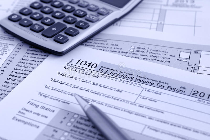 IRS 1040. United States federal income tax return IRS 1040 documents stock photos