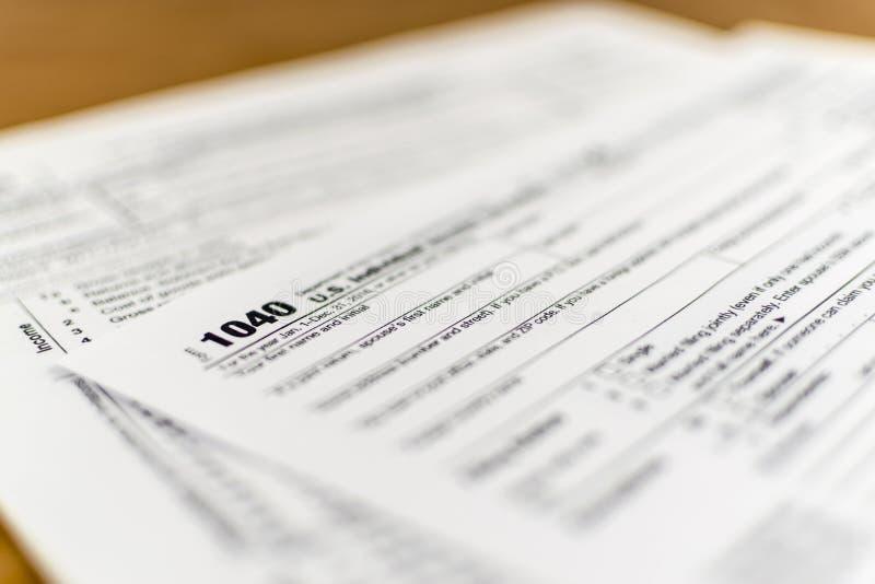 IRS Vorm 1040 Vorm van de het Inkomensbelastingaangifte van de V.S. de Individuele stock afbeelding